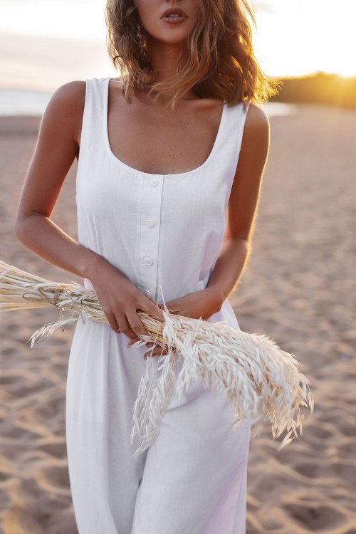 Linen jumpsuit (white)