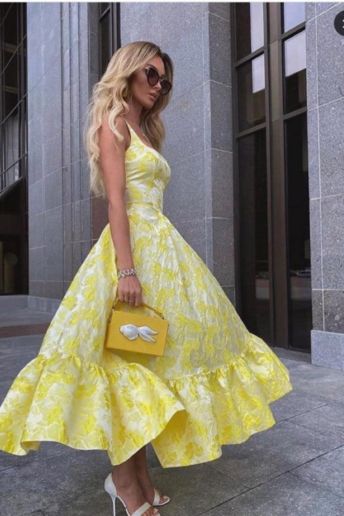 Sundress with half-sun skirt (yellow)
