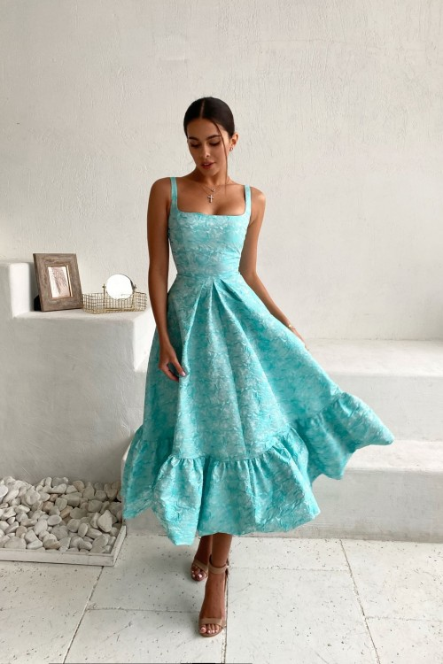 Sundress with half-sun skirt (turquoise)
