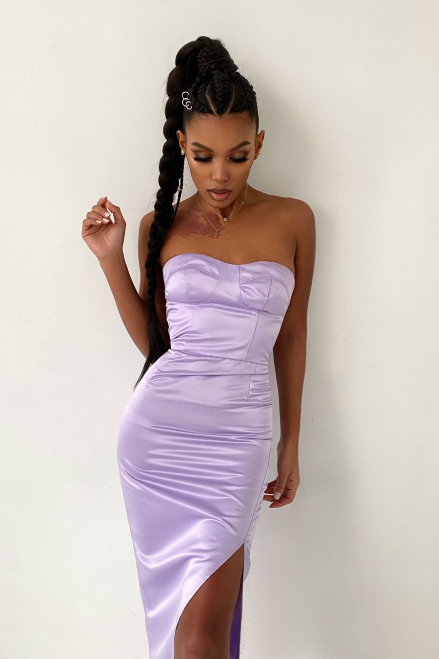 Split Bustier dress  (light purple)