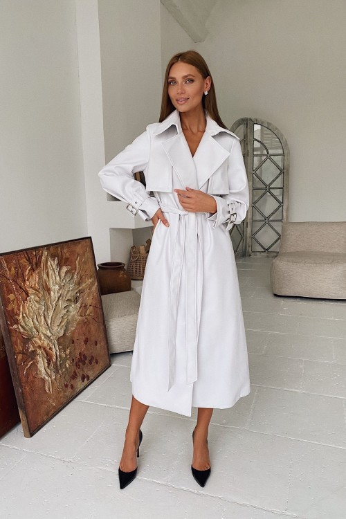 Eco leather trench coat (white)