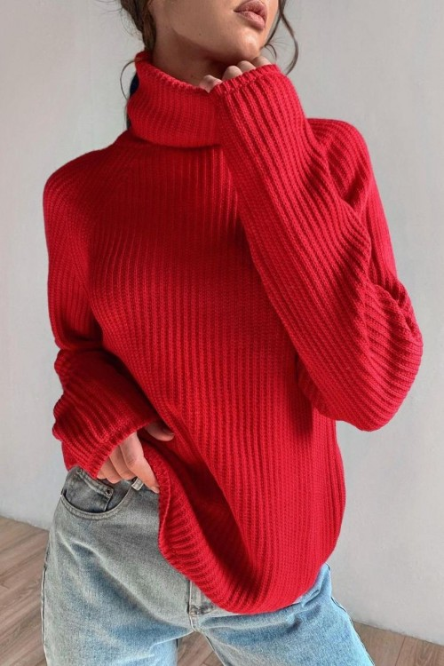High neck sweater (red)