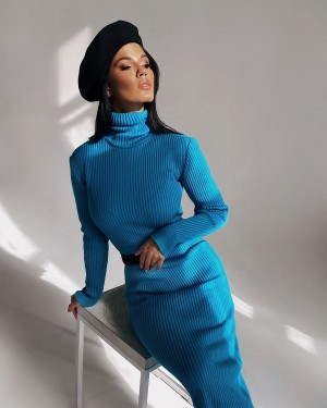High neck knitted dress (turquoise)
