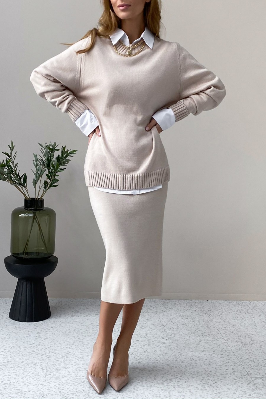 Knitted skirt (beige)