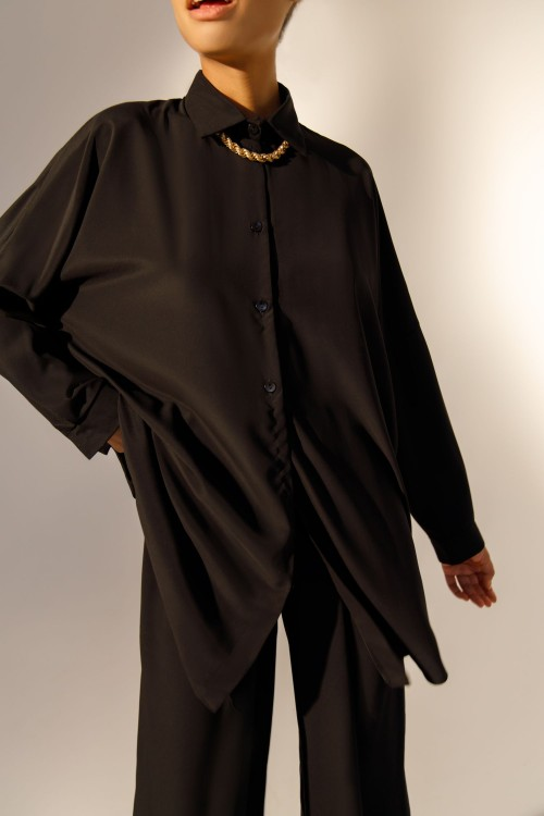 Straight blouse (black)