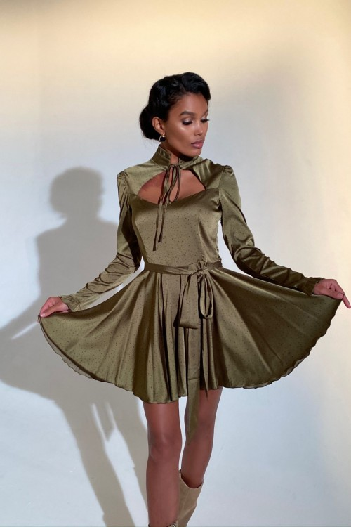 Figure bust dress (khaki)