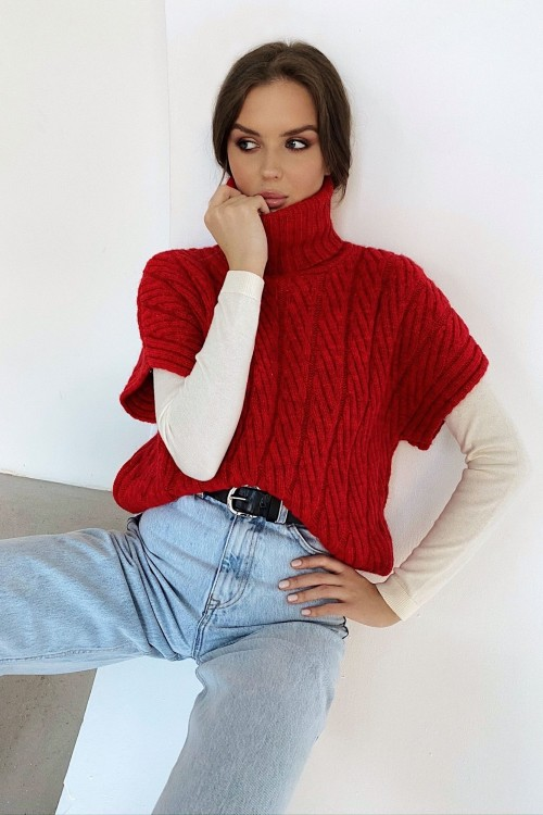 High neck knitted vest (red)
