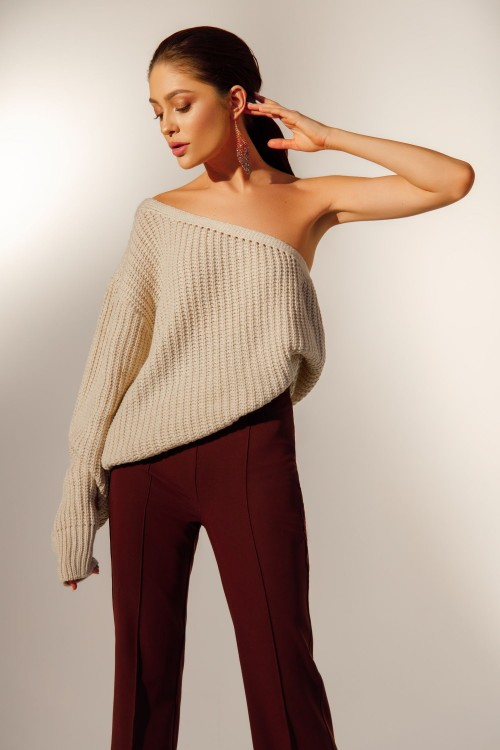 One shoulder sweater (beige)