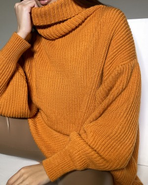 High neck oversize sweater (orange)