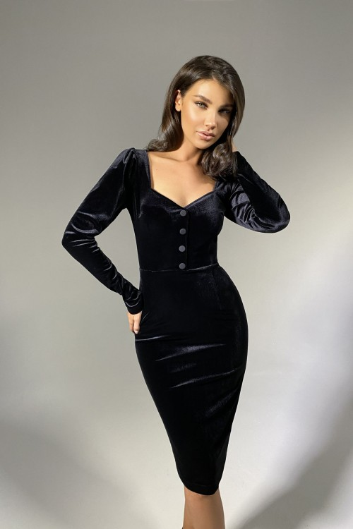 Velvet dress with buttons (black)