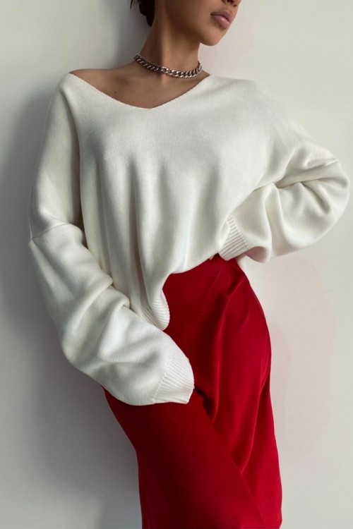 V-neck side slid sweater (white)