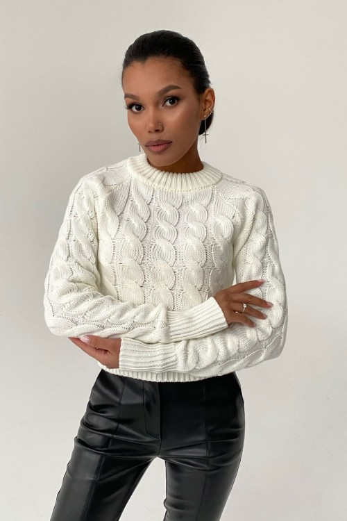 Pigtail crew sweater (white)