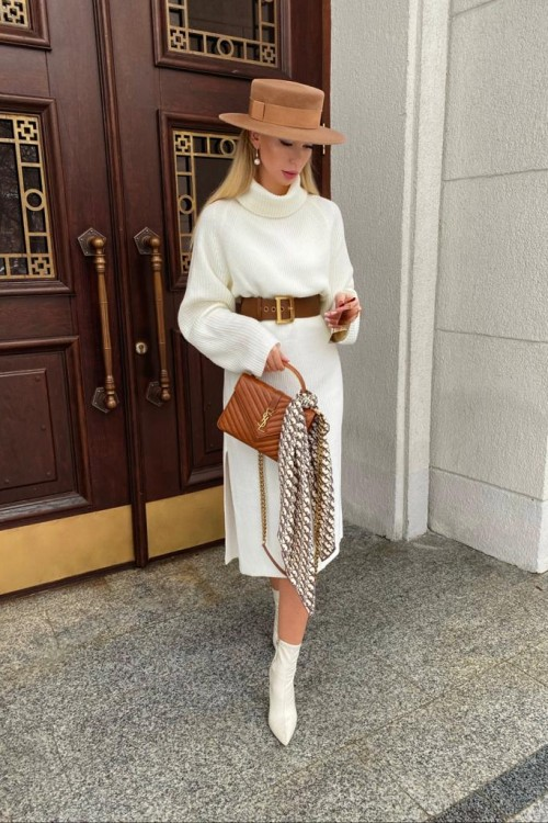Knitted dress ( white)
