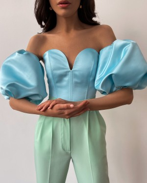 Bustier top with puffed sleeves (light blue)