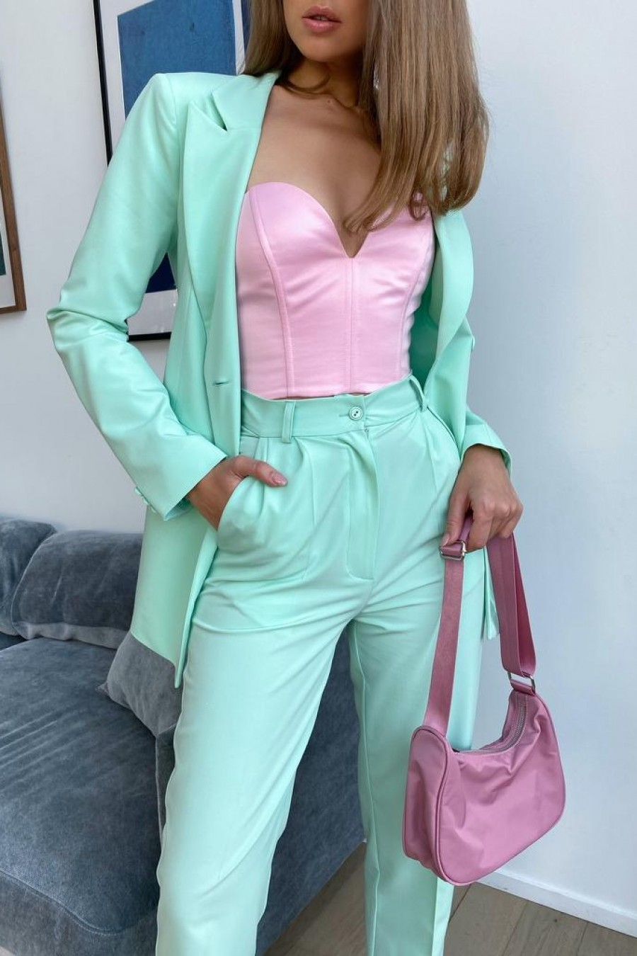 Double-breasted jacket (turquoise)