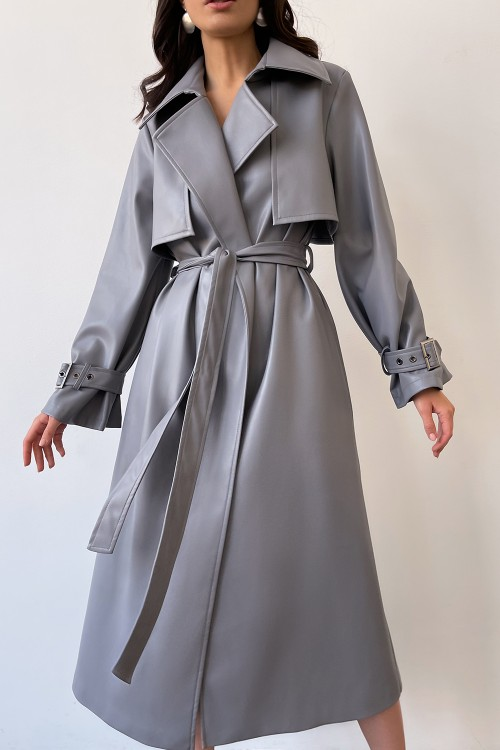 Eco leather trench coat (grey)