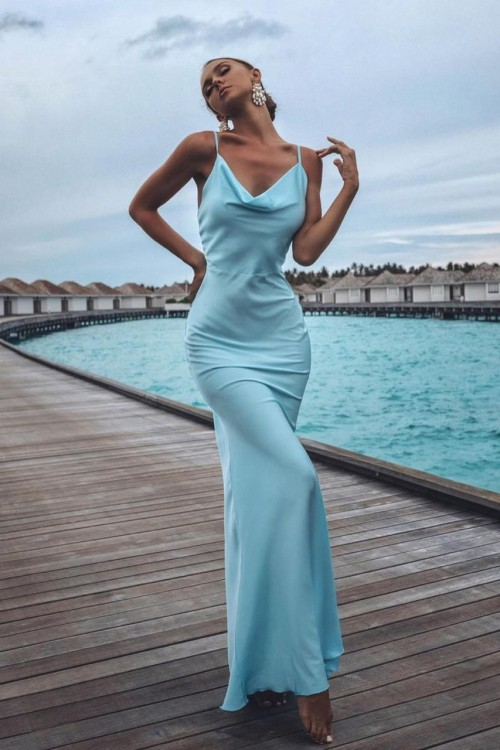 Maxi Slip dress (light blue)