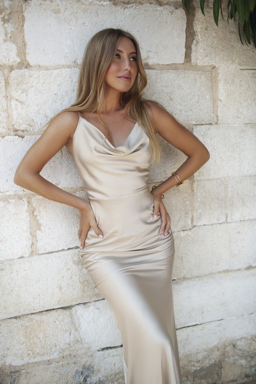 Maxi Slip dress (gold)