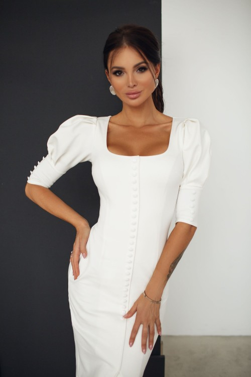 Sheath dress with buttons (white)