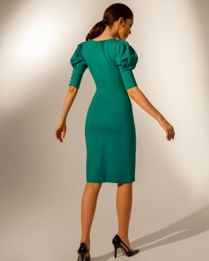 Sheath dress with buttons (emerald)