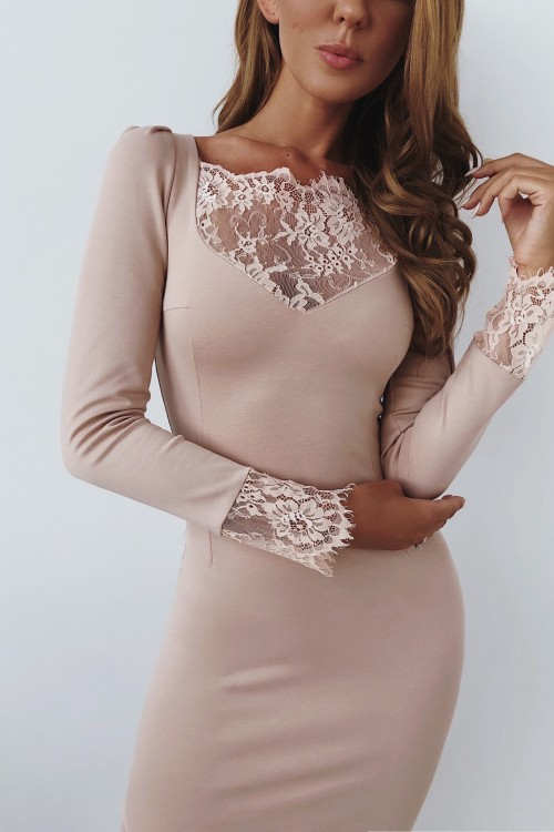 Lace trimmed dress (beige)