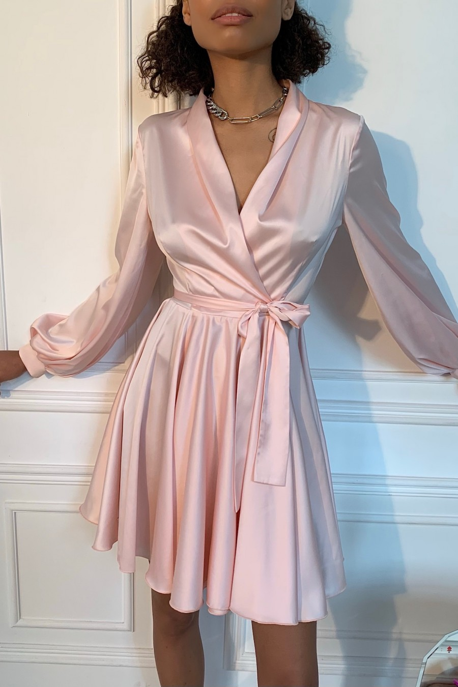 Long sleeve silk dress (pink)