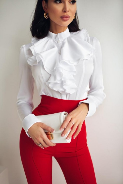 Frill body blouse (white)
