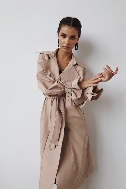 Cotton trench coat (beige)