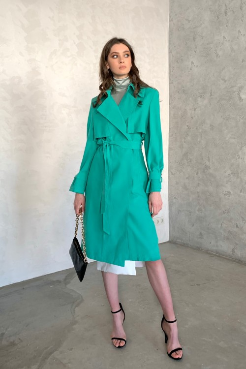 Cotton trench coat (emerald)