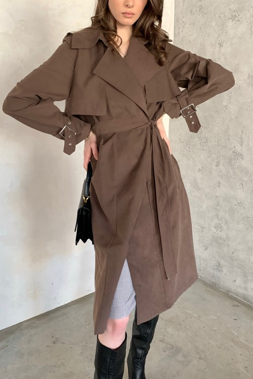 Cotton trench coat (brown)