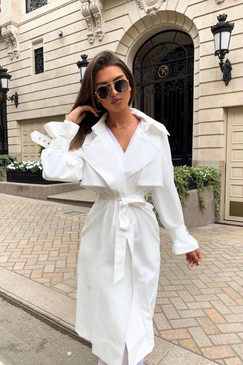 Cotton trench coat (white)