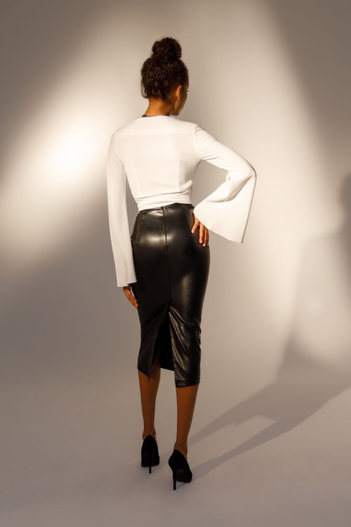 Split eco leather skirt (black)