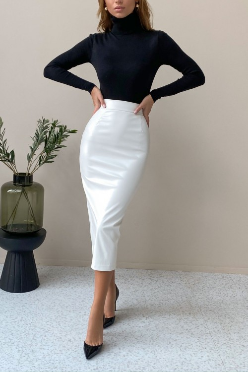 Split eco leather skirt (white)