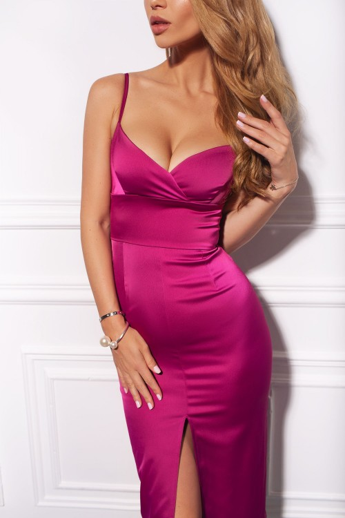 Split silk-satin dress (pink)