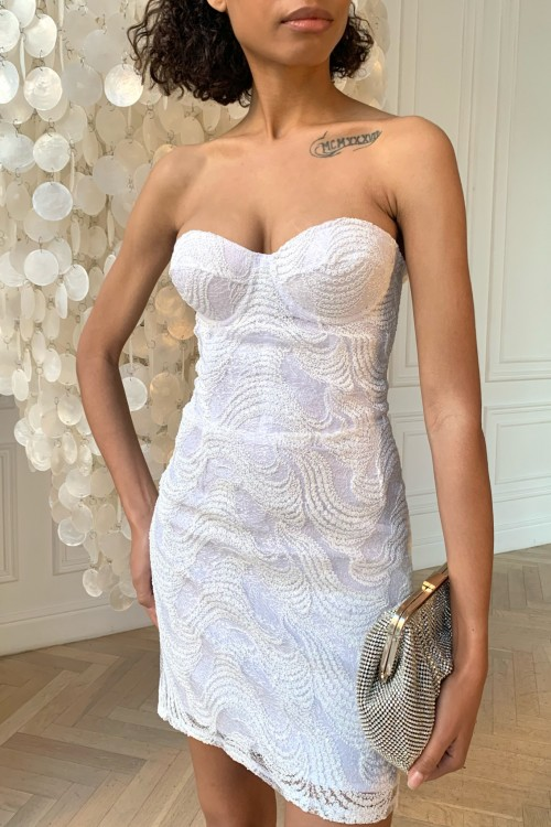 Lace bustier dress (white)