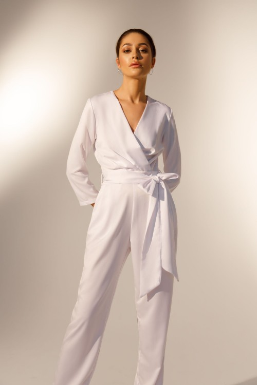 Long sleeve satin jumpsuit (white)