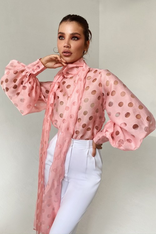 Polka dot blouse with a bow (pink)