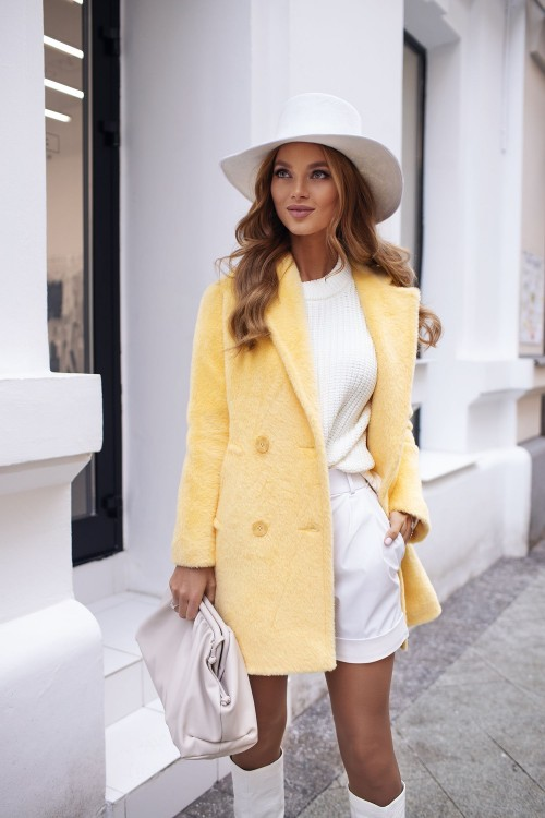 "Faux fur coat ""Katrin"" (yellow)"