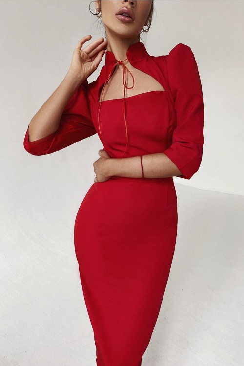 Sheath dress with ties (red)