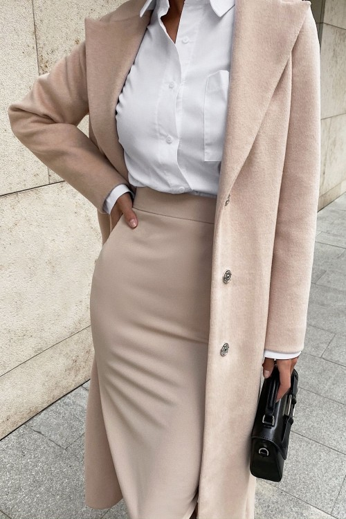 Sheath midi skirt (beige)