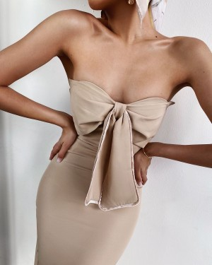 Bustier dress with a bow (beige)