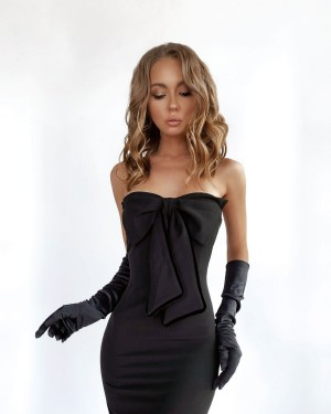 Bustier dress with a bow (black)