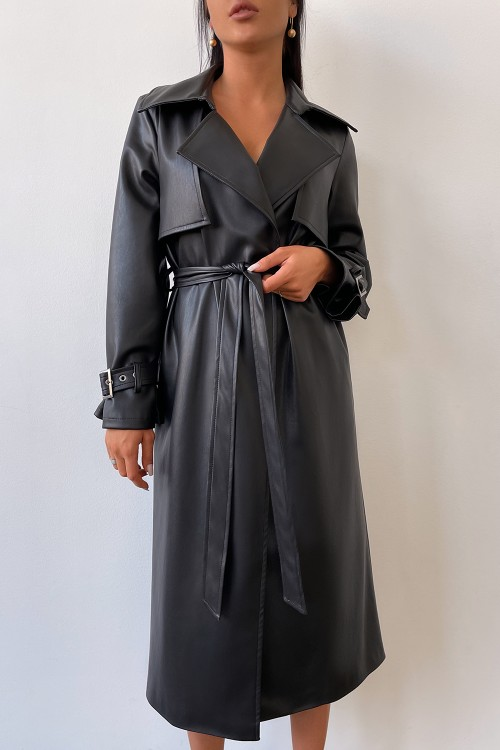 Eco leather trench coat (black)