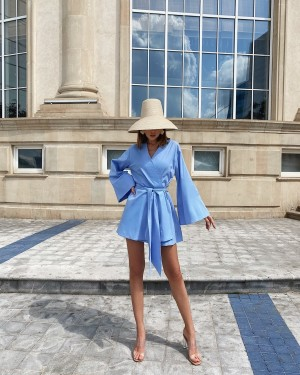 Linen kimono dress (light blue)